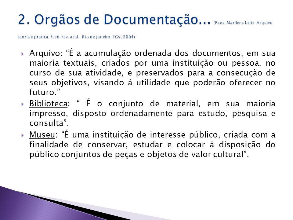 Arquivo: É a acumulação ordenada dos documentos, em sua maioria textuais, criados por uma instituição ou pessoa, no curso de sua atividade, e preservados para a consecução de seus objetivos, visando à utilidade que poderão oferecer no futuro.