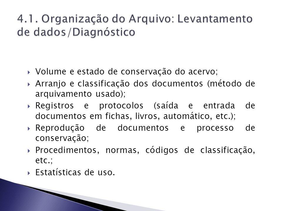 Volume e estado de conservação do acervo; Arranjo e classificação dos documentos (método de arquivamento usado); Registros e protocolos (saída e entra