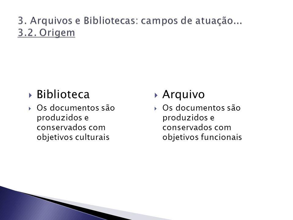 Biblioteca Os documentos são produzidos e conservados com objetivos culturais Arquivo Os documentos são produzidos e conservados com objetivos funcion
