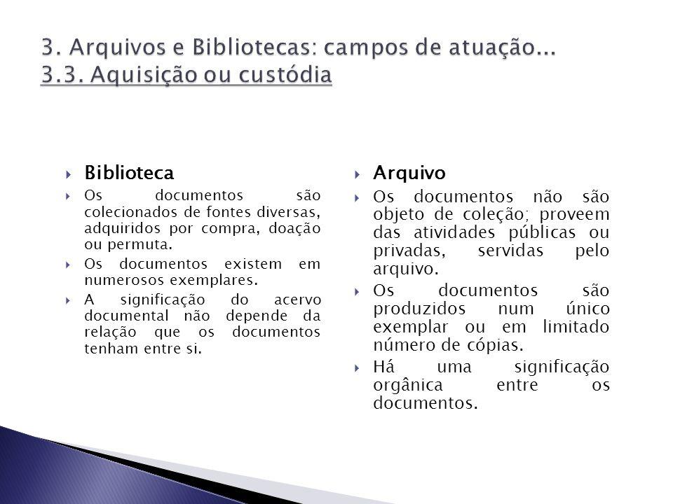 Biblioteca Os documentos são colecionados de fontes diversas, adquiridos por compra, doação ou permuta. Os documentos existem em numerosos exemplares.