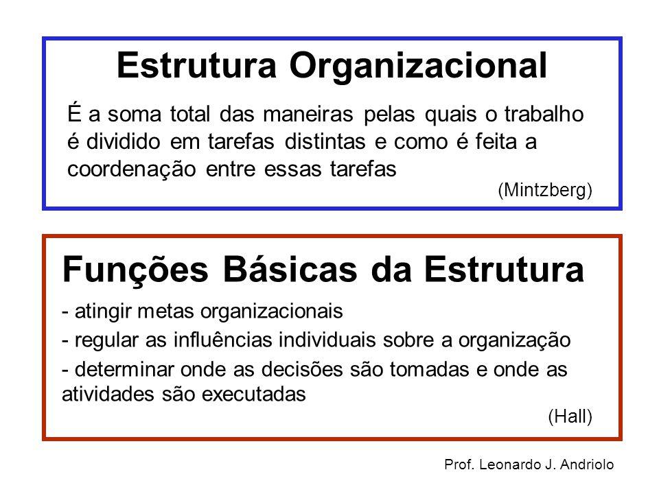Estrutura Organizacional É a soma total das maneiras pelas quais o trabalho é dividido em tarefas distintas e como é feita a coordenação entre essas t