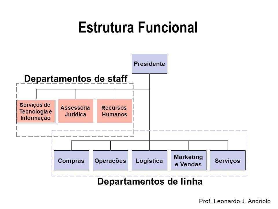 Estrutura Funcional Prof. Leonardo J. Andriolo Assessoria Jurídica Recursos Humanos Serviços de Tecnologia e Informação ComprasOperaçõesLogística Mark