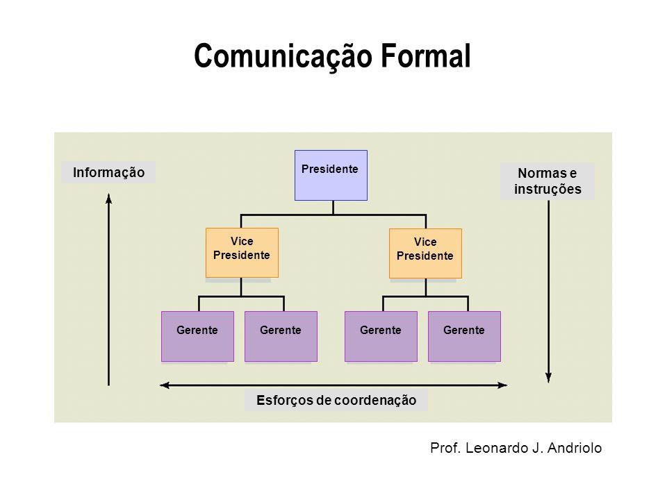 Prof. Leonardo J. Andriolo Comunicação Formal Informação Normas e instruções Esforços de coordenação Presidente Vice Presidente Gerente