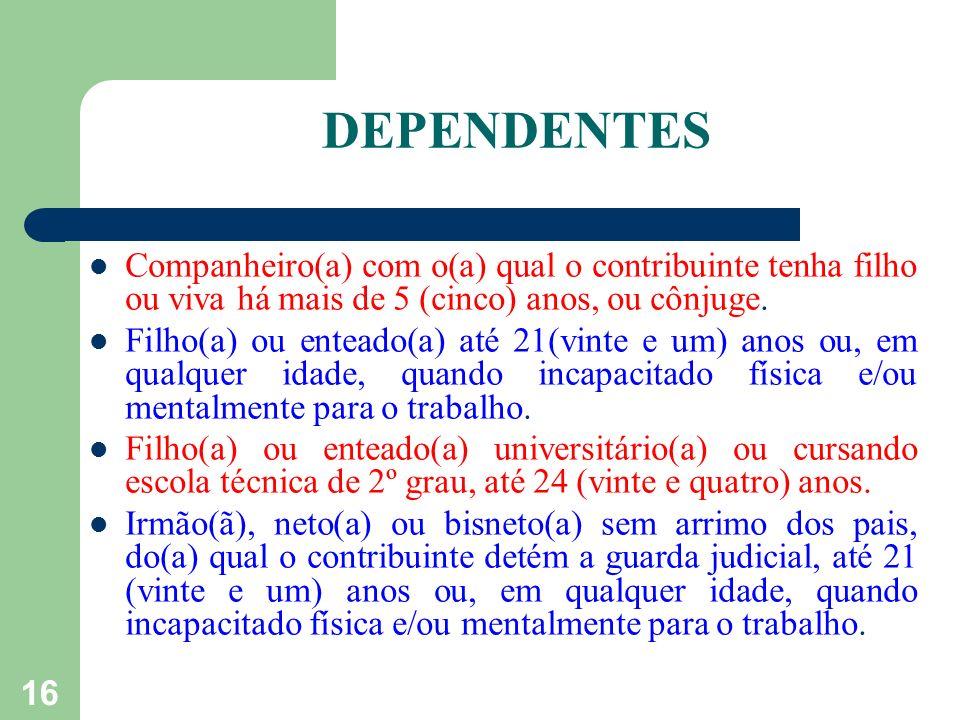 TABELA DE DEDUCÕES Limite de isenção anual em 2009......