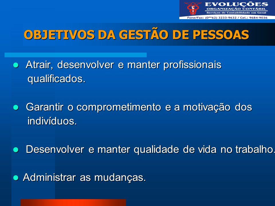 OBJETIVOS DA GESTÃO DE PESSOAS Atrair, desenvolver e manter profissionais Atrair, desenvolver e manter profissionais qualificados. qualificados. Garan
