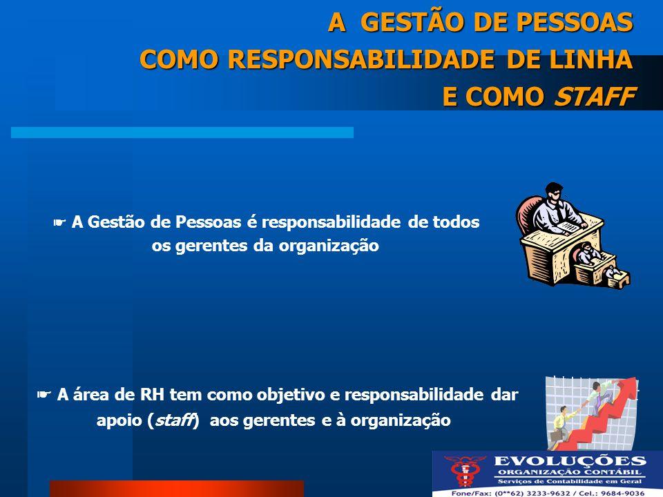 A Gestão de Pessoas é responsabilidade de todos os gerentes da organização A GESTÃO DE PESSOAS COMO RESPONSABILIDADE DE LINHA E COMO STAFF A área de R