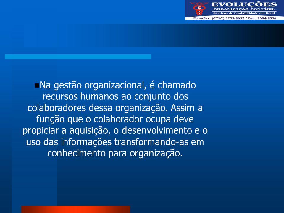 Na gestão organizacional, é chamado recursos humanos ao conjunto dos colaboradores dessa organização. Assim a função que o colaborador ocupa deve prop