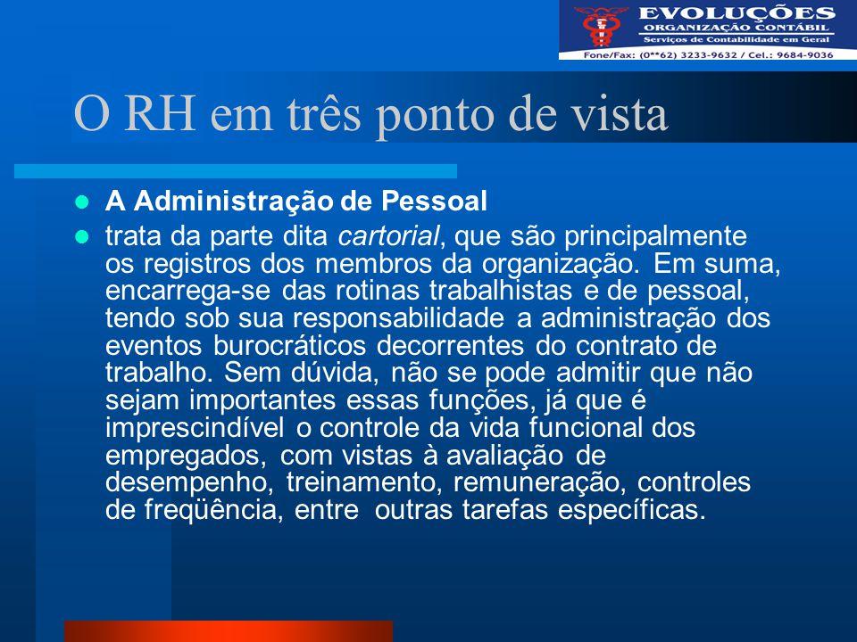O RH em três ponto de vista A Administração de Pessoal trata da parte dita cartorial, que são principalmente os registros dos membros da organização.