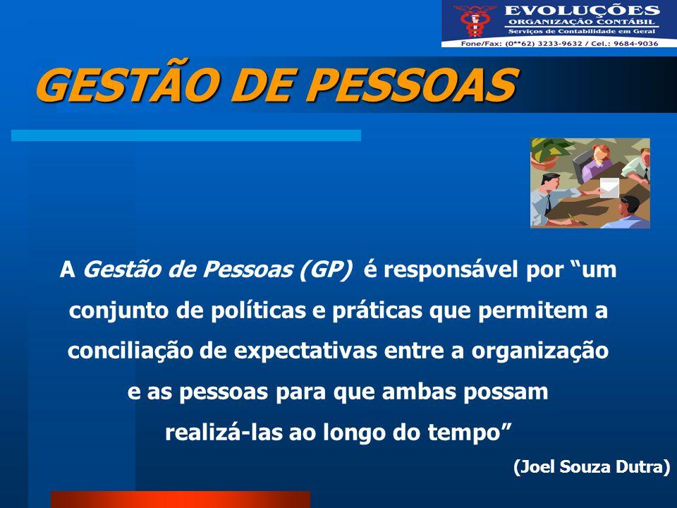GESTÃO DE PESSOAS A Gestão de Pessoas (GP) é responsável por um conjunto de políticas e práticas que permitem a conciliação de expectativas entre a or