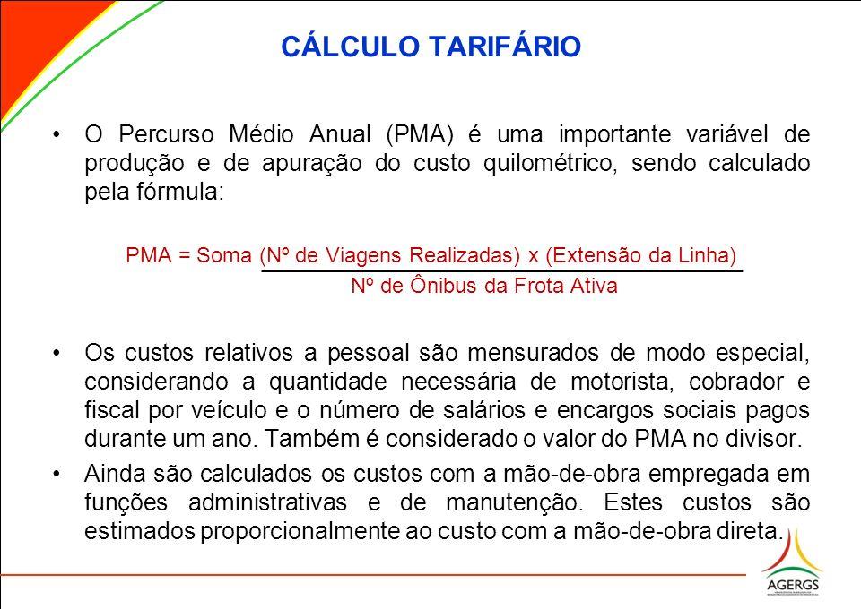 CÁLCULO TARIFÁRIO O Percurso Médio Anual (PMA) é uma importante variável de produção e de apuração do custo quilométrico, sendo calculado pela fórmula