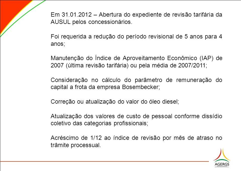 Em 31.01.2012 – Abertura do expediente de revisão tarifária da AUSUL pelos concessionários. Foi requerida a redução do período revisional de 5 anos pa