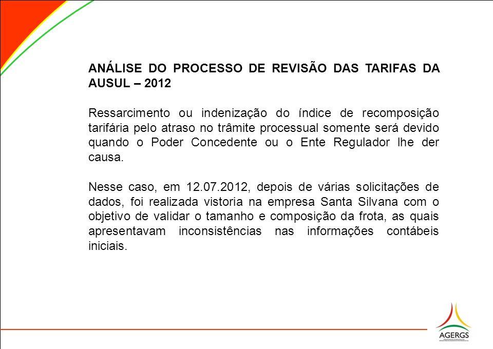 ANÁLISE DO PROCESSO DE REVISÃO DAS TARIFAS DA AUSUL – 2012 Ressarcimento ou indenização do índice de recomposição tarifária pelo atraso no trâmite pro