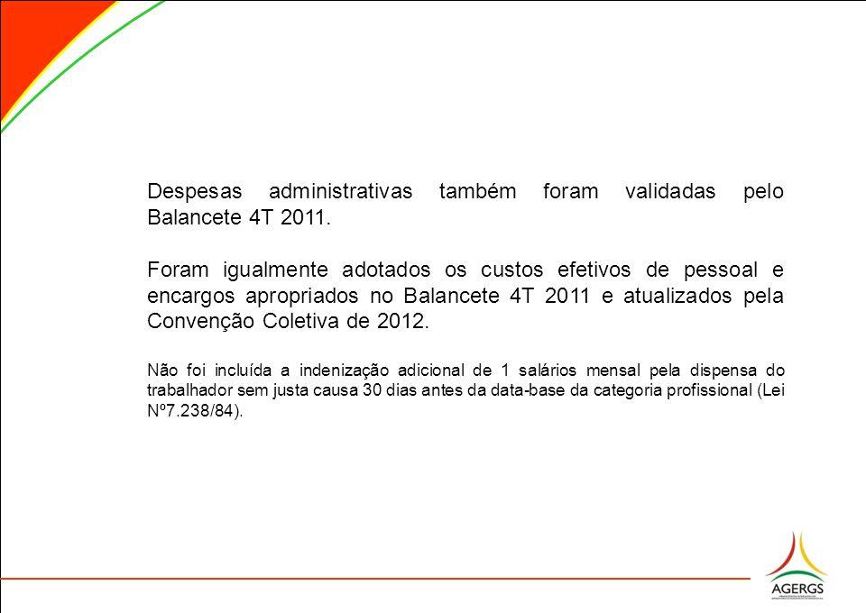 Despesas administrativas também foram validadas pelo Balancete 4T 2011. Foram igualmente adotados os custos efetivos de pessoal e encargos apropriados