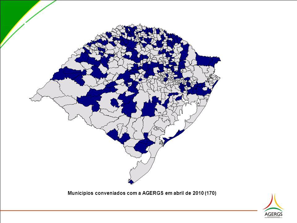 Municípios conveniados com a AGERGS em abril de 2010 (170)