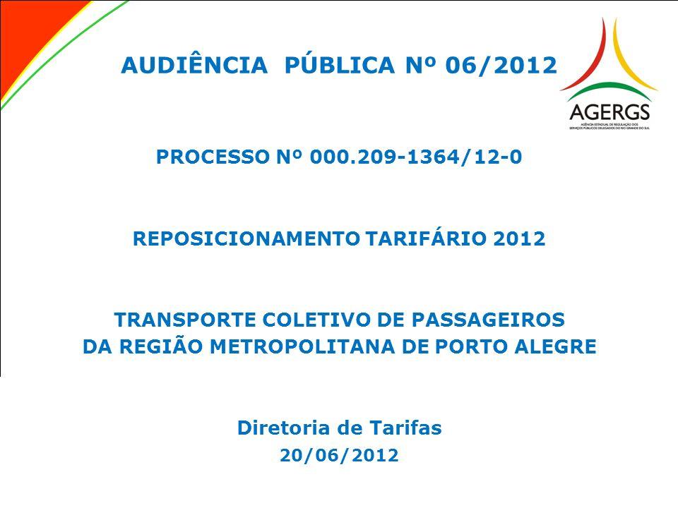 AUDIÊNCIA PÚBLICA Nº 06/2012 PROCESSO Nº 000.209-1364/12-0 REPOSICIONAMENTO TARIFÁRIO 2012 TRANSPORTE COLETIVO DE PASSAGEIROS DA REGIÃO METROPOLITANA