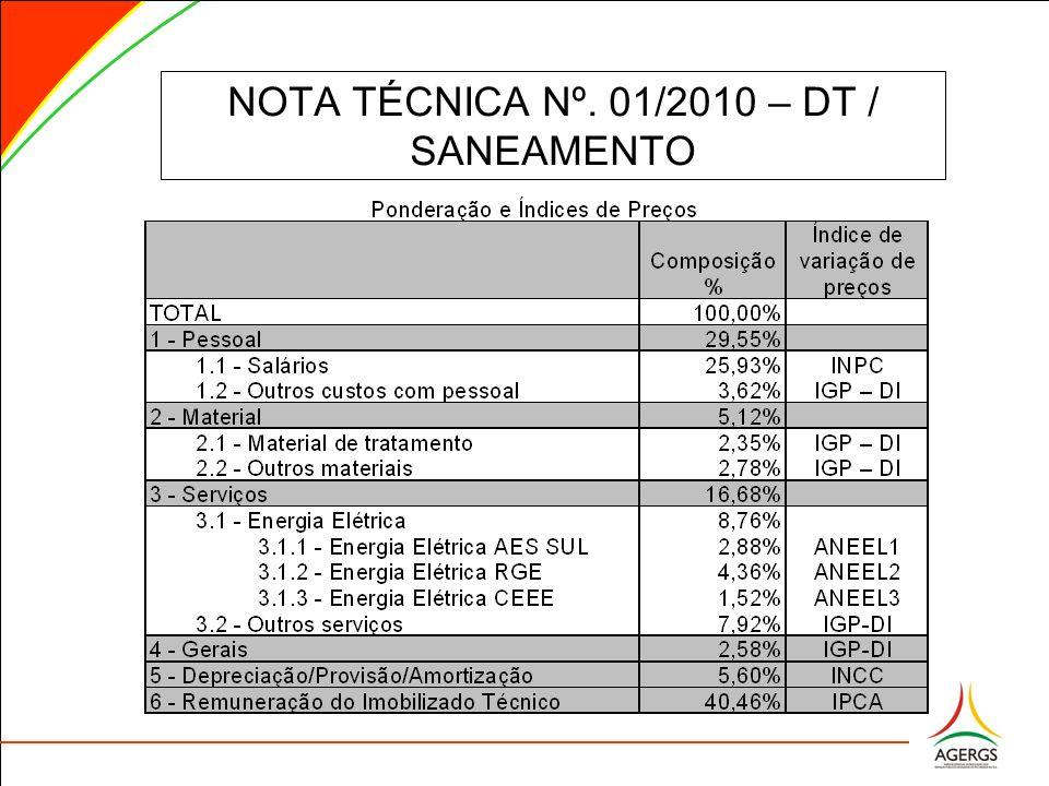 NOTA TÉCNICA Nº. 01/2010 – DT / SANEAMENTO