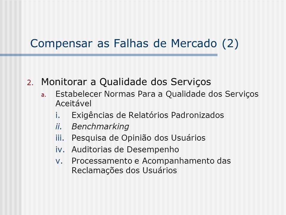 Compensar as Falhas de Mercado (2) 2. Monitorar a Qualidade dos Serviços a. Estabelecer Normas Para a Qualidade dos Serviços Aceitável i.Exigências de
