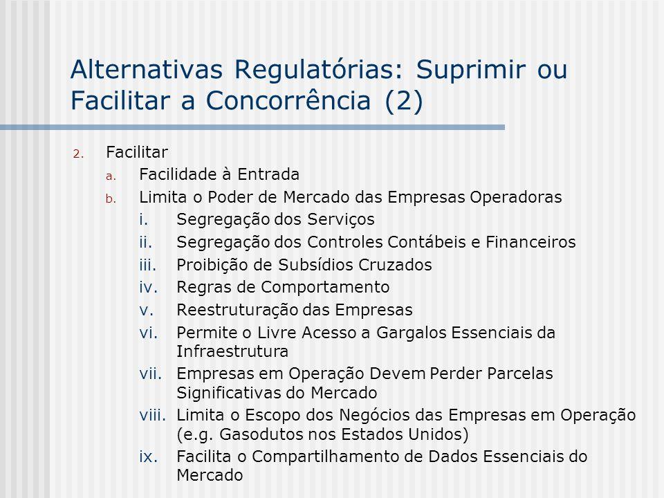 Alternativas Regulatórias: Suprimir ou Facilitar a Concorrência (2) 2. Facilitar a. Facilidade à Entrada b. Limita o Poder de Mercado das Empresas Ope