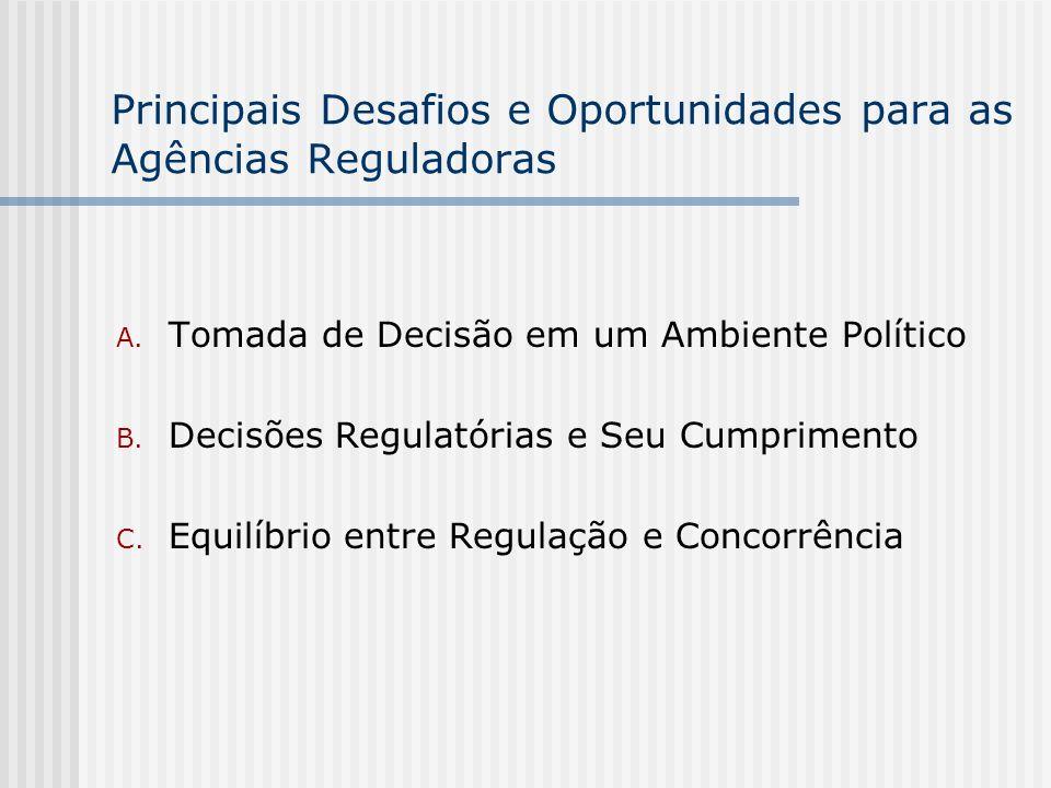 Principais Desafios e Oportunidades para as Agências Reguladoras A. Tomada de Decisão em um Ambiente Político B. Decisões Regulatórias e Seu Cumprimen