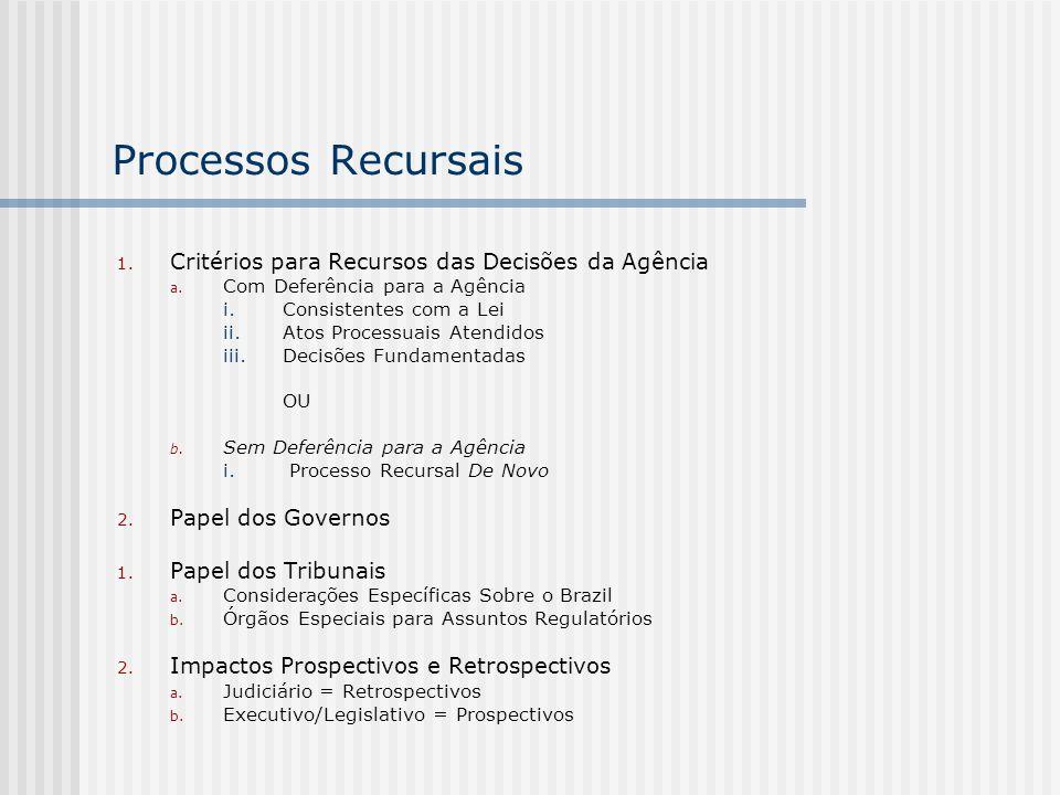 Processos Recursais 1. Critérios para Recursos das Decisões da Agência a. Com Deferência para a Agência i.Consistentes com a Lei ii.Atos Processuais A