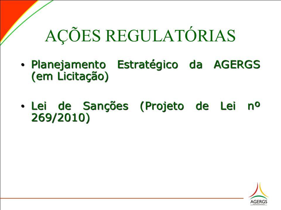 AÇÕES REGULATÓRIAS Planejamento Estratégico da AGERGS (em Licitação) Planejamento Estratégico da AGERGS (em Licitação) Lei de Sanções (Projeto de Lei