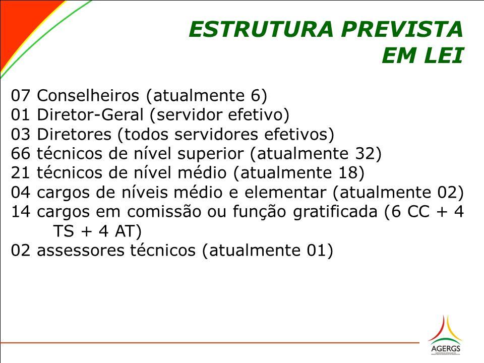 ESTRUTURA PREVISTA EM LEI 07 Conselheiros (atualmente 6) 07 Conselheiros (atualmente 6) 01 Diretor-Geral (servidor efetivo) 01 Diretor-Geral (servidor