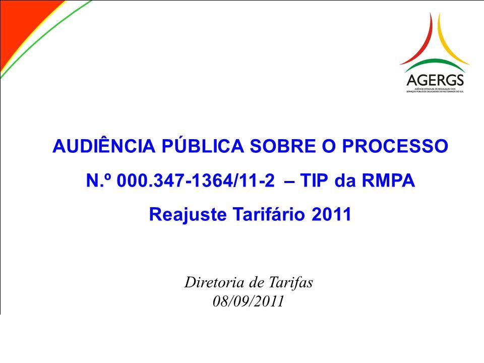 AUDIÊNCIA PÚBLICA SOBRE O PROCESSO N.º 000.347-1364/11-2 – TIP da RMPA Reajuste Tarifário 2011 Diretoria de Tarifas 08/09/2011