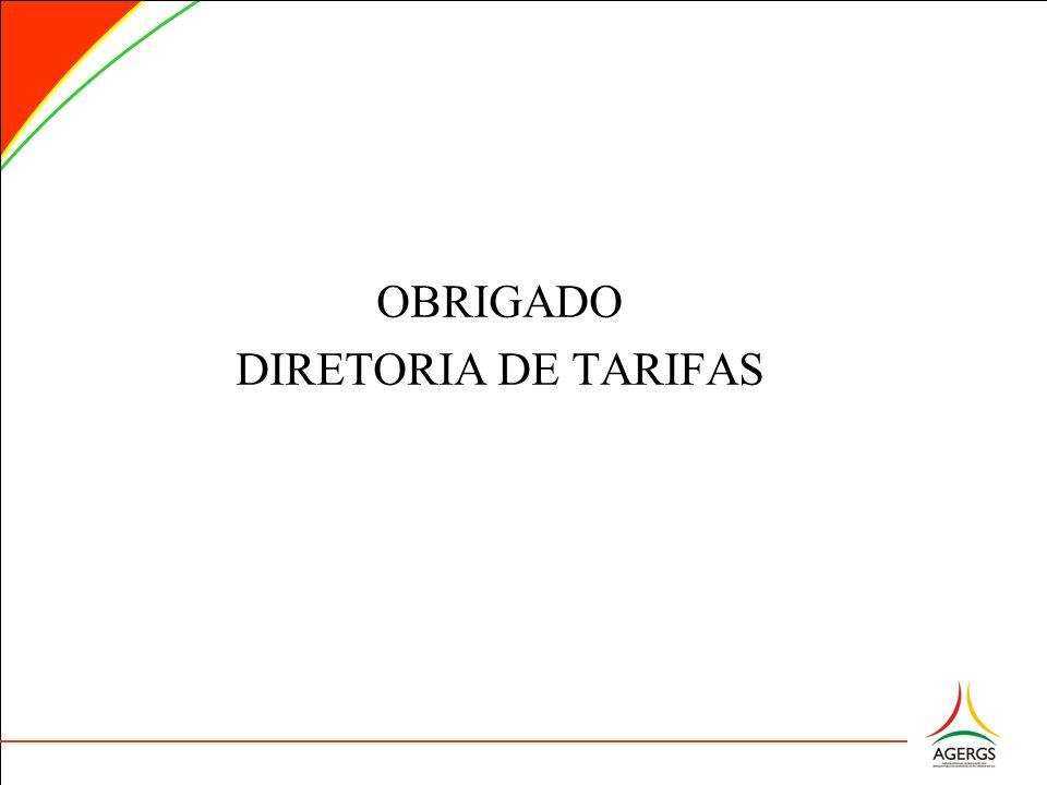 OBRIGADO DIRETORIA DE TARIFAS