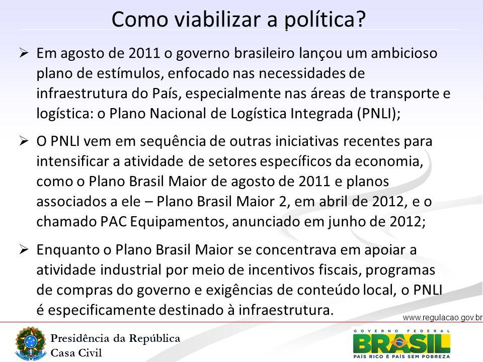 Presidência da República Casa Civil www.regulacao.gov.br r Como viabilizar a política? Em agosto de 2011 o governo brasileiro lançou um ambicioso plan