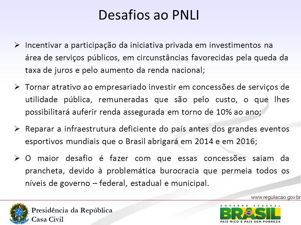 Presidência da República Casa Civil www.regulacao.gov.br r Desafios ao PNLI Incentivar a participação da iniciativa privada em investimentos na área d