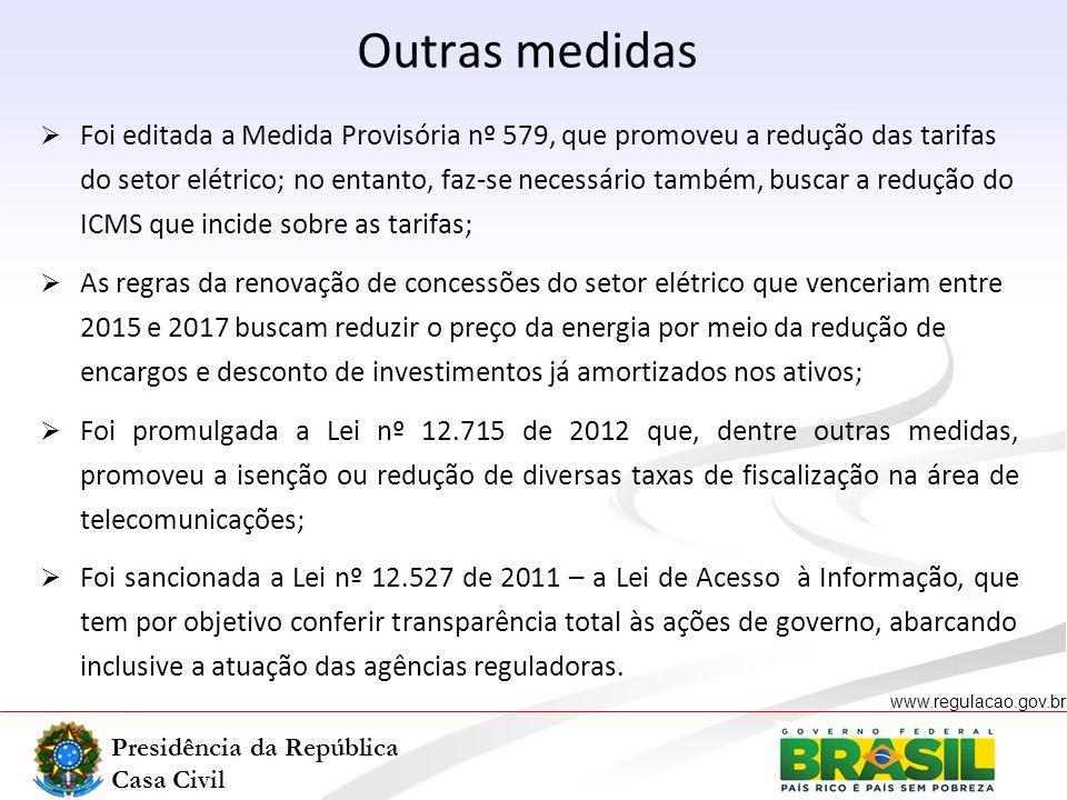 Presidência da República Casa Civil www.regulacao.gov.br r Outras medidas Foi editada a Medida Provisória nº 579, que promoveu a redução das tarifas d