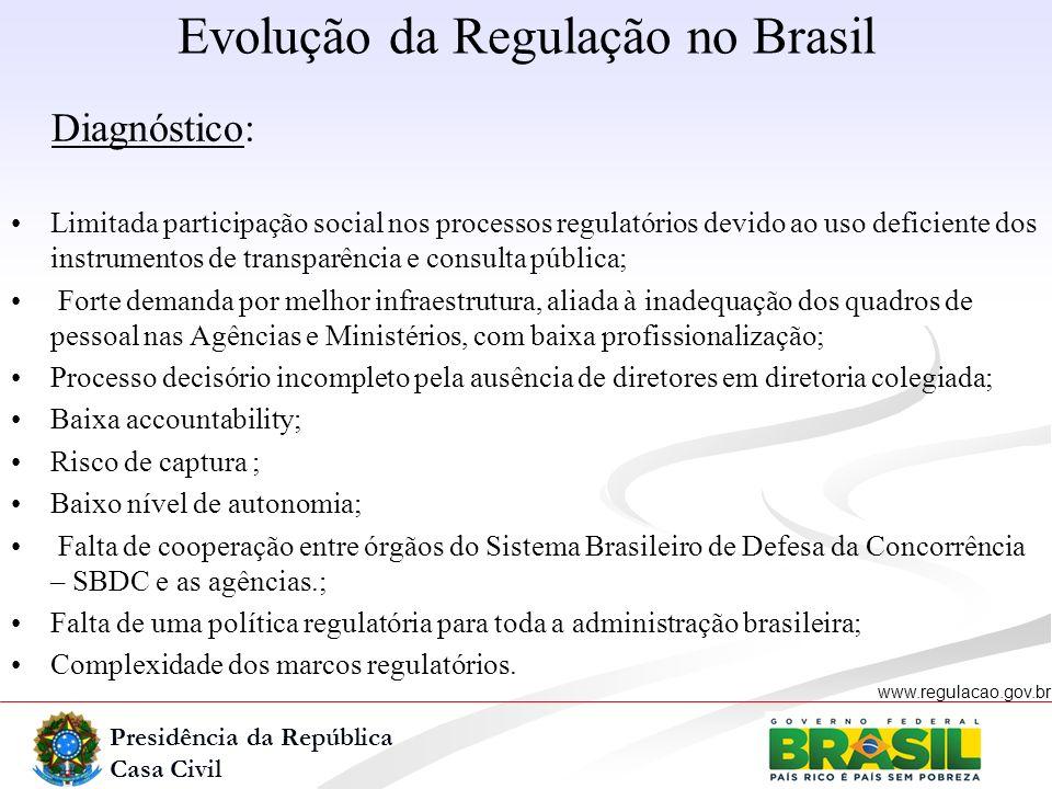 Presidência da República Casa Civil www.regulacao.gov.br r Diagnóstico: Limitada participação social nos processos regulatórios devido ao uso deficien