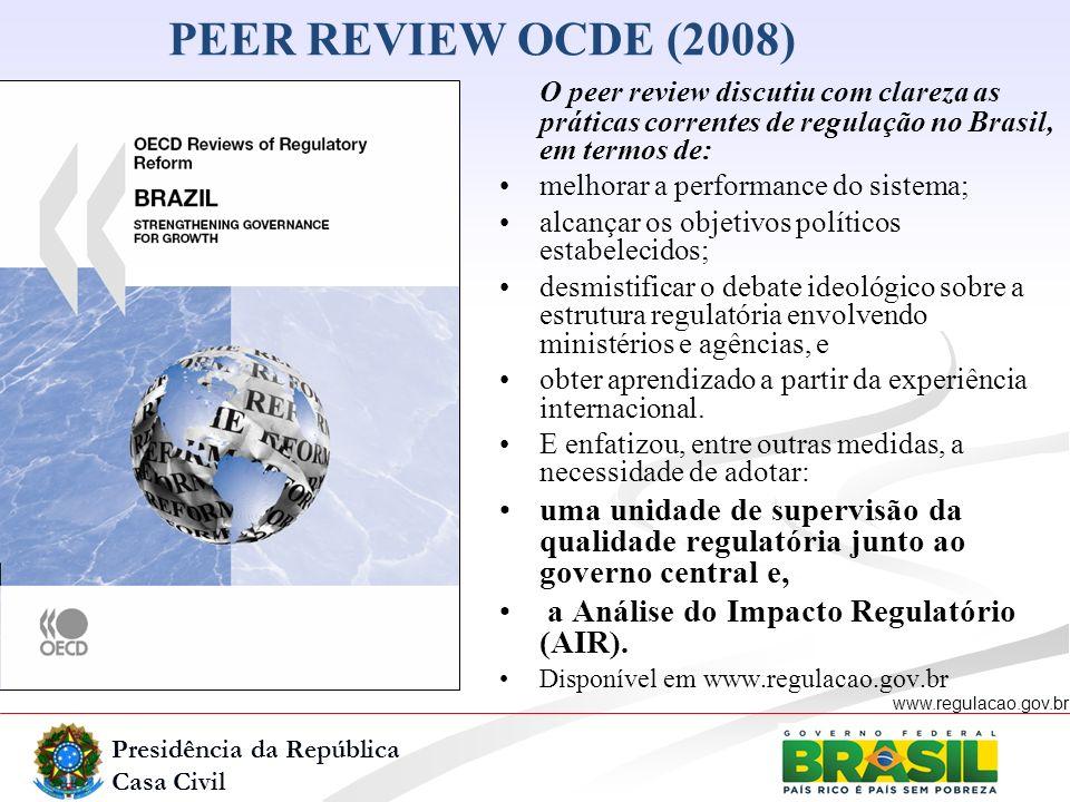 Presidência da República Casa Civil www.regulacao.gov.br PEER REVIEW OCDE (2008) O peer review discutiu com clareza as práticas correntes de regulação