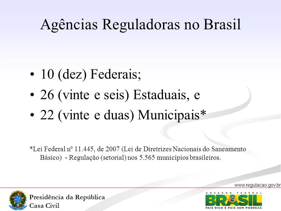 Presidência da República Casa Civil www.regulacao.gov.br r 10 (dez) Federais; 26 (vinte e seis) Estaduais, e 22 (vinte e duas) Municipais* *Lei Federa