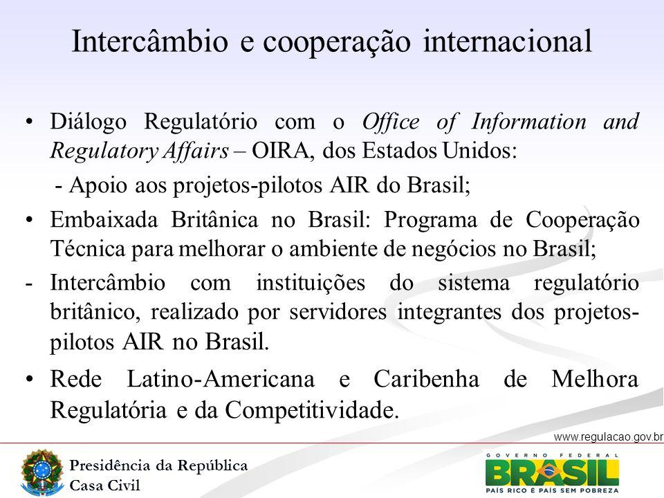 Presidência da República Casa Civil www.regulacao.gov.br r Diálogo Regulatório com o Office of Information and Regulatory Affairs – OIRA, dos Estados