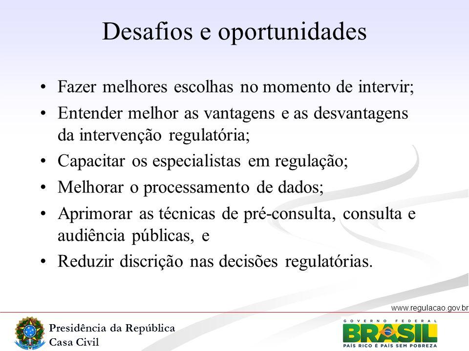 Presidência da República Casa Civil www.regulacao.gov.br r Fazer melhores escolhas no momento de intervir; Entender melhor as vantagens e as desvantag