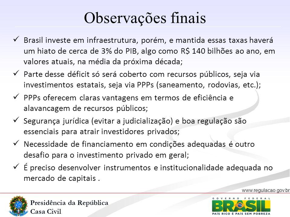 Presidência da República Casa Civil www.regulacao.gov.br r Observações finais Brasil investe em infraestrutura, porém, e mantida essas taxas haverá um