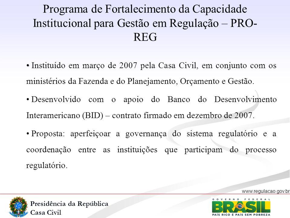 Presidência da República Casa Civil www.regulacao.gov.br r Instituído em março de 2007 pela Casa Civil, em conjunto com os ministérios da Fazenda e do