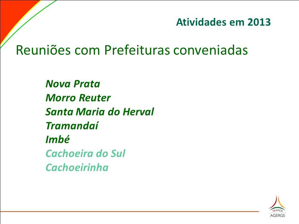 Reuniões com Prefeituras conveniadas Nova Prata Morro Reuter Santa Maria do Herval Tramandaí Imbé Cachoeira do Sul Cachoeirinha Atividades em 2013
