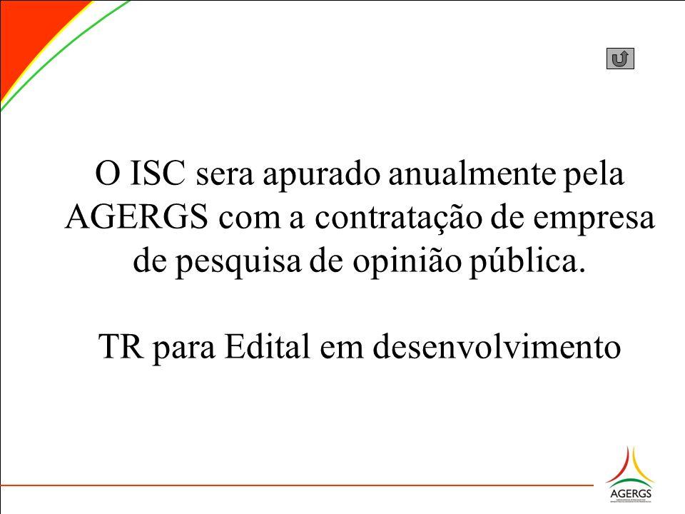 O ISC sera apurado anualmente pela AGERGS com a contratação de empresa de pesquisa de opinião pública. TR para Edital em desenvolvimento