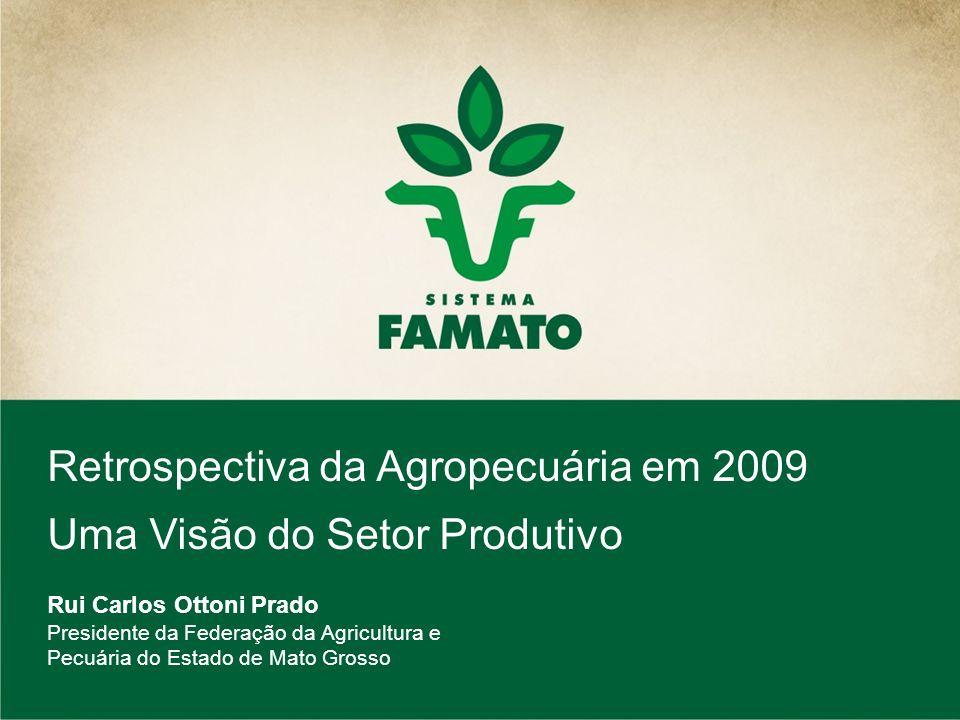 Retrospectiva da Agropecuária em 2009 Uma Visão do Setor Produtivo Rui Carlos Ottoni Prado Presidente da Federação da Agricultura e Pecuária do Estado