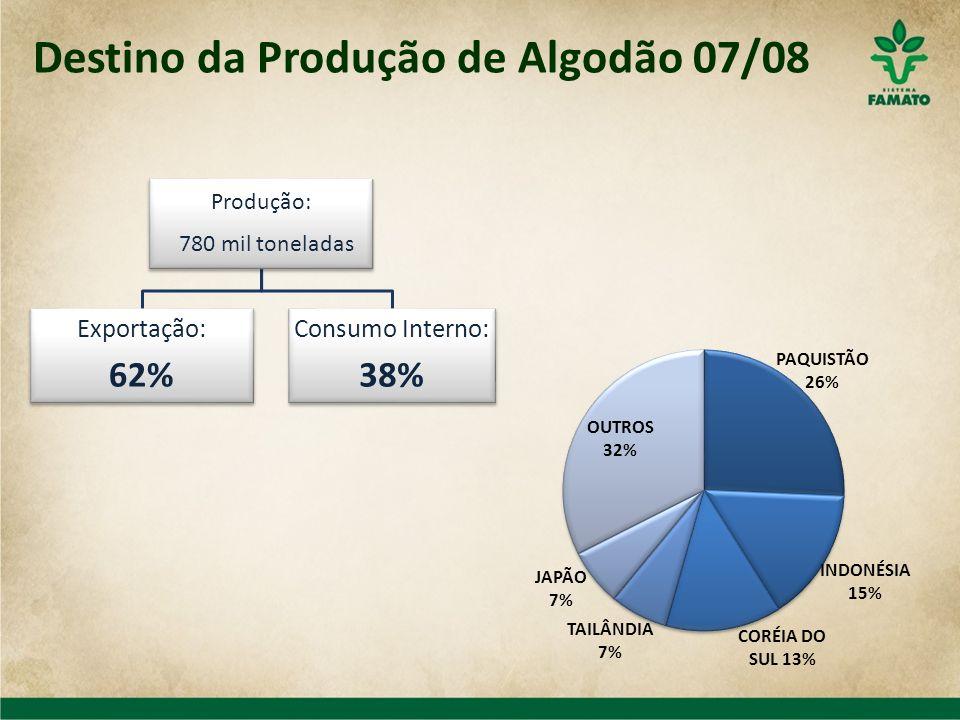 Destino da Produção de Algodão 07/08 Produção: 780 mil toneladas Exportação: 62% Consumo Interno: 38%