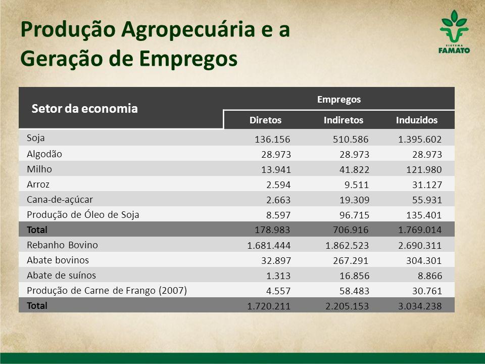Produção Agropecuária e a Geração de Empregos Setor da economia Empregos DiretosIndiretosInduzidos Soja 136.156 510.586 1.395.602 Algodão 28.973 Milho