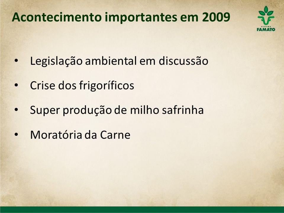 Acontecimento importantes em 2009 Legislação ambiental em discussão Crise dos frigoríficos Super produção de milho safrinha Moratória da Carne