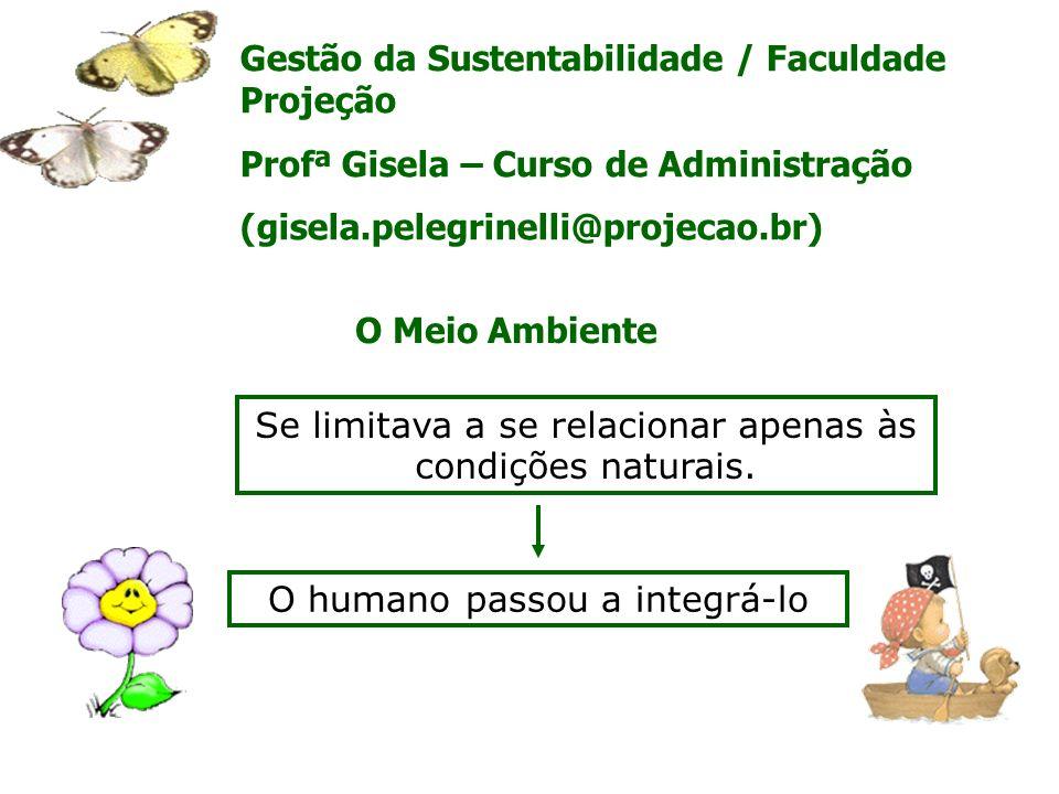 Gestão da Sustentabilidade / Faculdade Projeção Profª Gisela – Curso de Administração (gisela.pelegrinelli@projecao.br) Se limitava a se relacionar ap