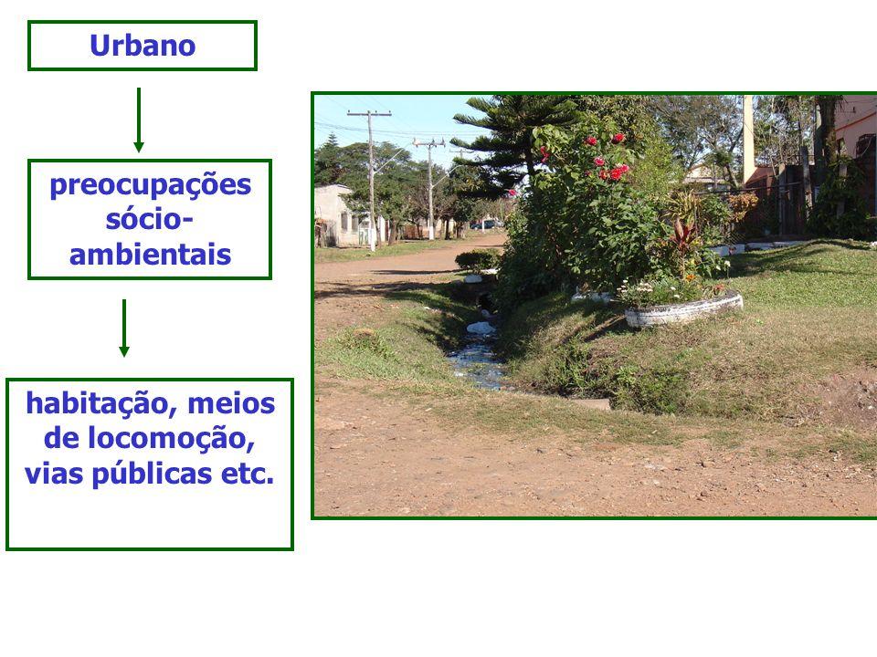 Urbano preocupações sócio- ambientais habitação, meios de locomoção, vias públicas etc.