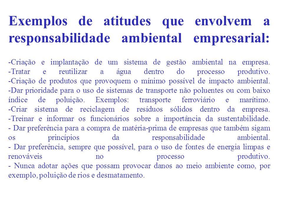 Exemplos de atitudes que envolvem a responsabilidade ambiental empresarial: -Criação e implantação de um sistema de gestão ambiental na empresa. -Trat