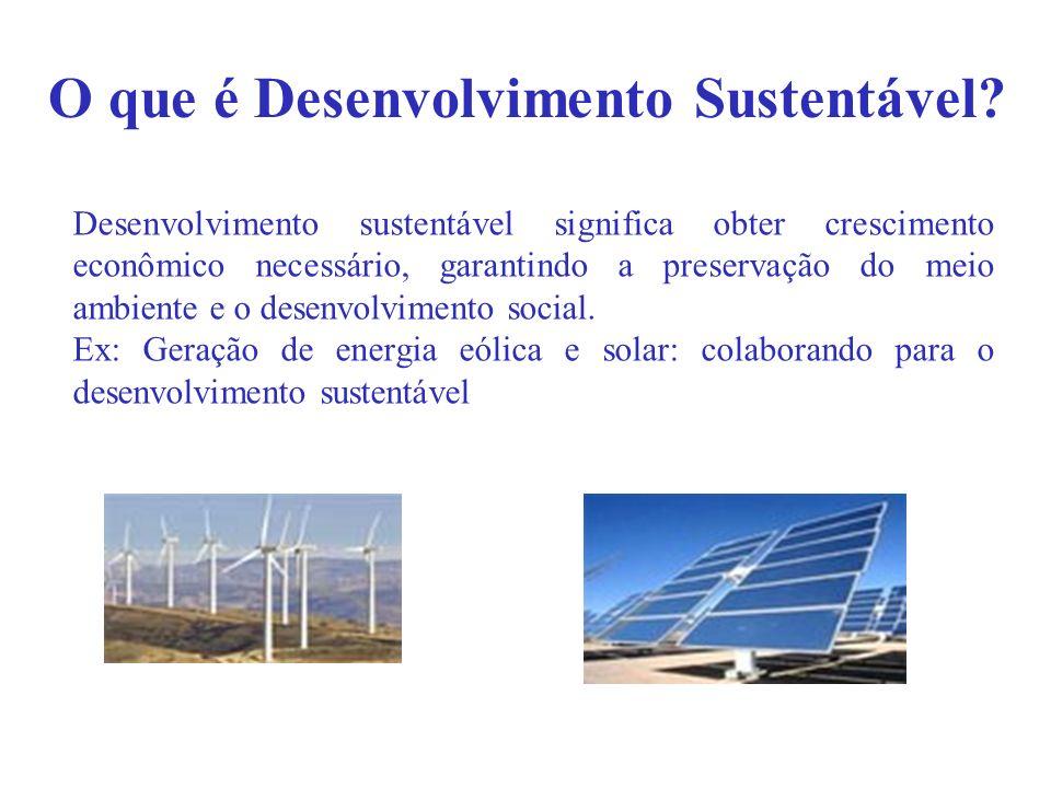 O que é Desenvolvimento Sustentável? Desenvolvimento sustentável significa obter crescimento econômico necessário, garantindo a preservação do meio am