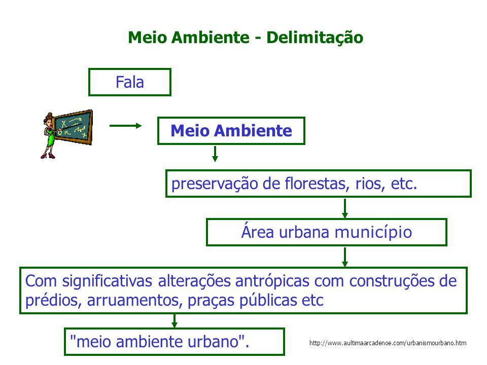 Meio Ambiente - Delimitação Meio Ambiente Fala preservação de florestas, rios, etc. Área urbana município Com significativas alterações antrópicas com
