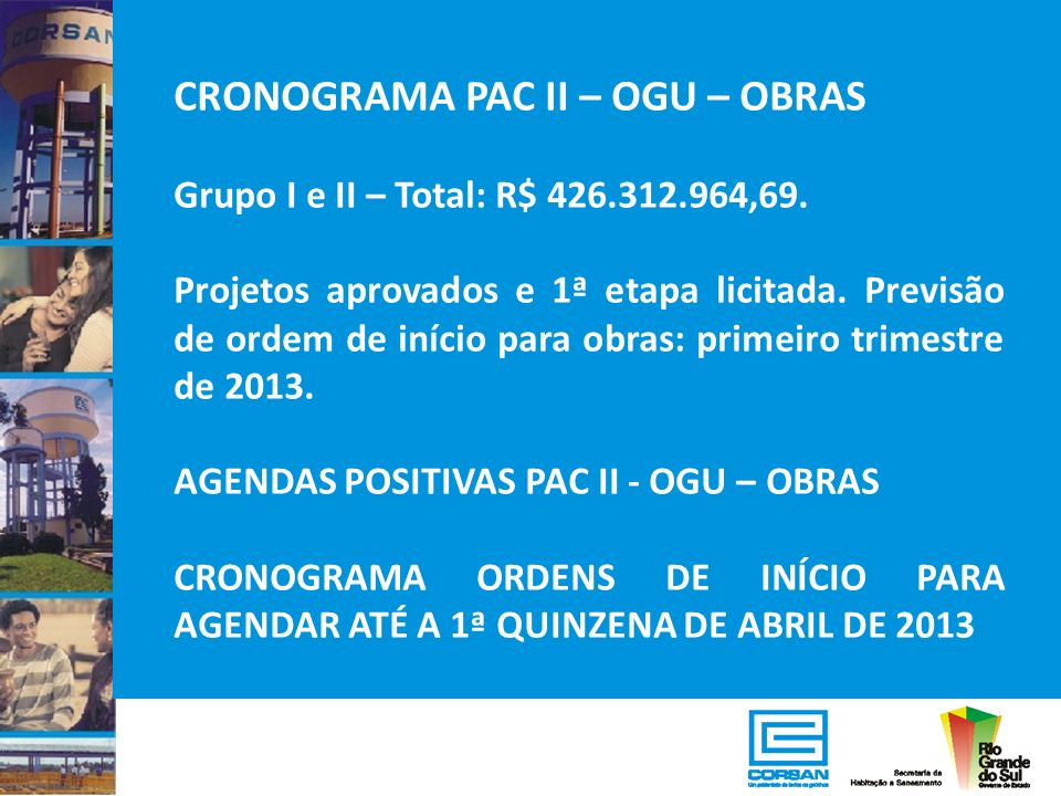 CRONOGRAMA PAC II – OGU – OBRAS Grupo I e II – Total: R$ 426.312.964,69. Projetos aprovados e 1ª etapa licitada. Previsão de ordem de início para obra